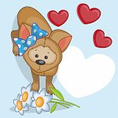 picture of puppies mother dog  - Greeting card Puppy with hearts on a blue - JPG