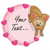 stock photo of puppies mother dog  - Greeting card Dog with hearts on pink - JPG