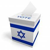 picture of ballot-paper  - A ballot box bearing the Israeli flag - JPG