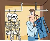 picture of proverb  - Cartoon Humor Concept Illustration of Skeletons in the Closet Saying or Proverb - JPG