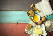 picture of ingredient  - Baking ingredients including eggs and flour with space for text - JPG