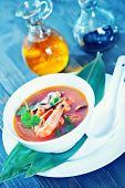 picture of gai  - fresh asian soup in bowl and on a table - JPG