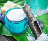 picture of sea salt  - sea salt on a table sea salt for bath - JPG