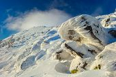 picture of snow clouds  - Winter Carpathian mountains all covered with snow in the sky beautiful clouds - JPG