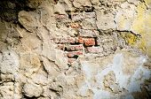 image of brick block  - Old red brick in concrete wall  - JPG