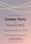 foto of bbq party  - vector illustration of sunset summer party invitation - JPG