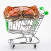 foto of hairy  - Hairy crabs on the shopping cart isolated in white background - JPG
