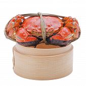 picture of hairy  - Hairy crabs on the Bamboo steamer Isolated on white background - JPG