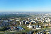 stock photo of suburban city  - view of european City from television tower - JPG