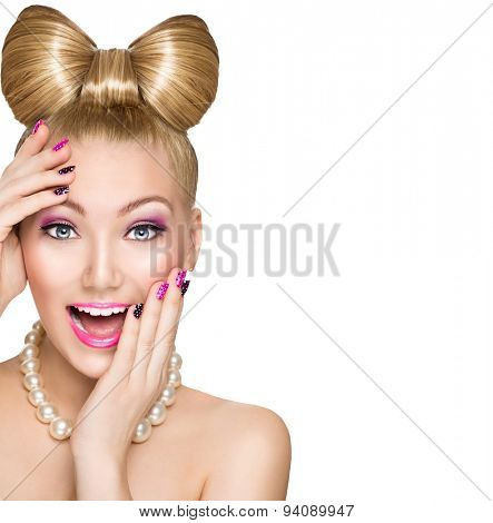 Beauty fashion happy surprised model girl with funny bow hairstyle, pink nail art and makeup isolate