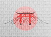 picture of japanese flag  - Paper texture with Japanese Torii gates - JPG