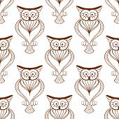 picture of owl eyes  - Retro seamless pattern of cute brown owls with big eyes and long lashes for stylized interior wallpaper or fabric design - JPG