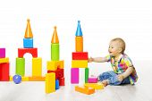 image of brick block  - Baby Kid Play Block Toys Building Child Boy Constructor Playing Bricks Game Children Room over White - JPG