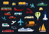 picture of tank truck  - Transportation flat icons with airplanes - JPG