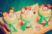 pic of whipping  - Vintage photo of dessert with jelly whipped cream and strawberries - JPG