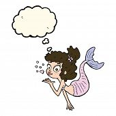 picture of mermaid  - cartoon pretty mermaid with thought bubble - JPG