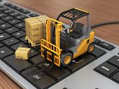picture of forklift  - Concept of delivering shipping or logistics - JPG