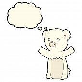 foto of bear cub  - cartoon polar bear cub with thought bubble - JPG