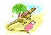 image of lizards  - lizard traveling - JPG