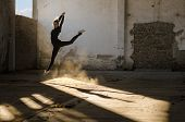 picture of spandex  - Beautiful young ballerina dancing in abandoned building - JPG