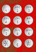 picture of keypad  - Numerical keypad push buttons over a mottled red background - JPG