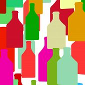 image of bottles  - Bottle silhouette with wine - JPG