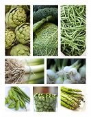 foto of stall  - Collage of various green vegetables on a market stall - JPG