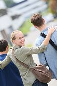 picture of mating  - Student girl walking with school mates - JPG