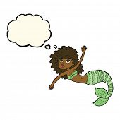 pic of mermaid  - cartoon pretty mermaid waving with thought bubble - JPG