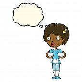 pic of outfits  - cartoon woman in french maid outfit with thought bubble - JPG
