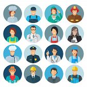 pic of policeman  - Profession avatar flat icon set with chef mechanic policeman isolated vector illustration - JPG