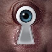 stock photo of keyhole  - Key vision concept as a human eye shaped as a keyhole symbol as a business metaphor for finding the solution from within and being a visionary of innovation and security - JPG