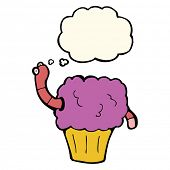 pic of worm  - cartoon worm in cupcake with thought bubble - JPG