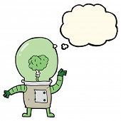 pic of cyborg  - cartoon robot cyborg with thought bubble - JPG