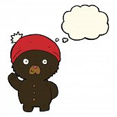 pic of crazy hat  - cartoon waving black teddy bear in winter hat with thought bubble - JPG