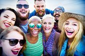 stock photo of huddle  - Friends Huddle Cheerful Union Summer Concept - JPG