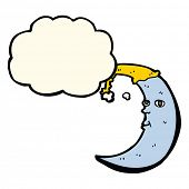 picture of sleepy  - sleepy moon cartoon with thought bubble - JPG