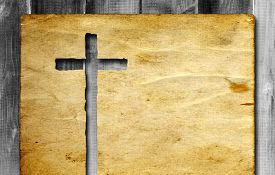 stock photo of christianity  - Vintage old grungy paper banner with a Christian religious cross over ancient wood background for religion or faith designs - JPG