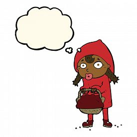 picture of little red riding hood  - little red riding hood cartoon with thought bubble - JPG