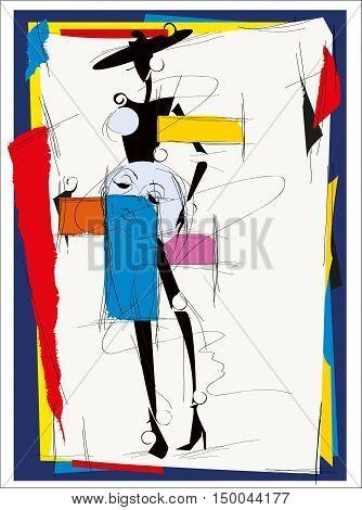 poster of Fashion girl cubism modern illustration. Vector illustration.
