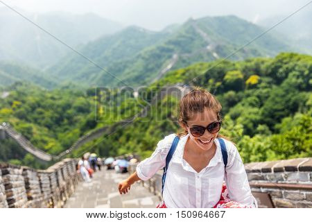 poster of China travel at Great Wall. Tourist in Asia walking on famous Chinese tourist destination and attrac