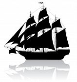 stock photo of pirate flag  - Black old ship isolated on white background - JPG