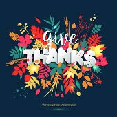 Happy Thanksgiving Day In Calligraphic Hand Drawn Style And Paper Style. Fall Style For Autumn. poster