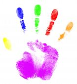 stock photo of finger-painting  - print of a hand on a white background - JPG