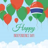 Постер, плакат: Gambia Independence Day Flat Greeting Card Flying Rubber Balloons In Colors Of The Gambian Flag Ha