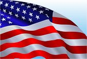 pic of waving american flag  - An American flag flowing in the wind - JPG