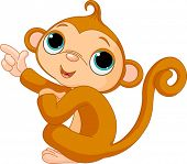 stock photo of baby-monkey  - Illustration of cute pointing baby monkey - JPG