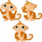 Three little monkeys. See no evil, speak no evil, hear no evil