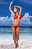 Постер, плакат: Красивая женщина расслабляющий на пляже в Мальдивы