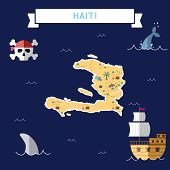 Flat Treasure Map Of Haiti. Colorful Cartoon With Icons Of Ship, Jolly Roger, Treasure Chest And Ban poster